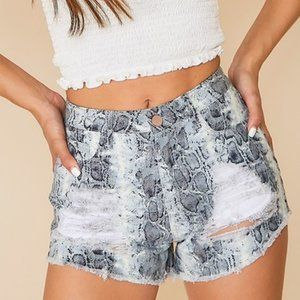 4 for $25 Animal Print Distressed Denim Shorts